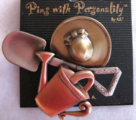 Brooch Pin Garden lover gold copper silver tone CafeBug