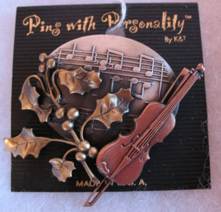 Music Pin Brooch Muted Gold, Silver, & Copper Tone CafeBug