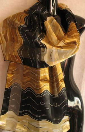 Black and Gold Beautiful Print Scarf Scarves Wrap CafeBug