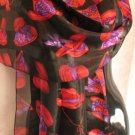 Red Hat Ladies Black Red Purple Scarf Scarves Wrap