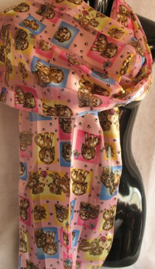 Puppies Scarf Pink Yellow Blue Scarves Wrap Cafebug