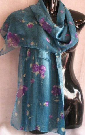 Floral Print Lavender Turquoise Blue Scarf cafebug