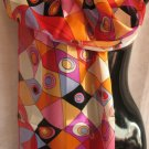 Beautiful Bright Modern Print Orange red Scarf Scarves CafeBug