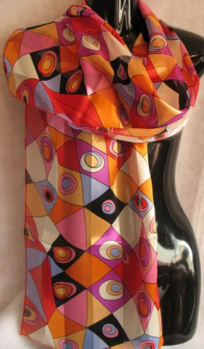Beautiful Bright Modern Print Orange red Scarf Scarves CafeBug