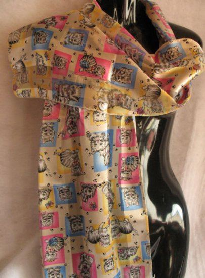 Playful Kittens Scarf Scarves wrap Cream pink blue CafeBug