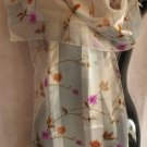 Super Pale Blue background Floral print Scarf Scarves CafeBug