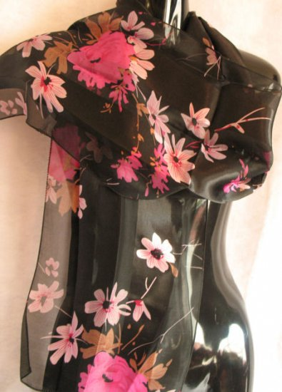 Beautiful Floral Print Black Pink Scarf Scarves Wrap CafeBug