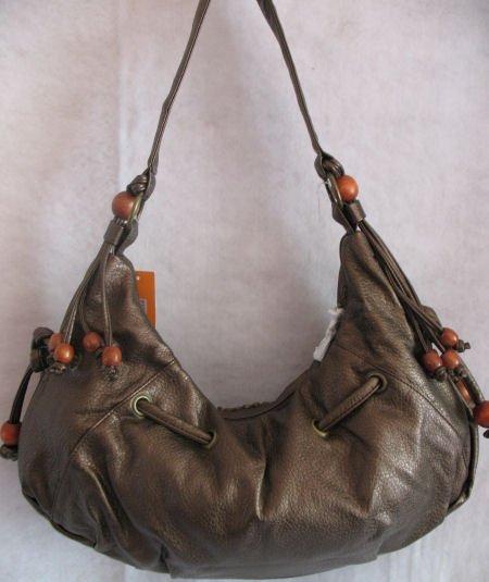 Large Metallic Mocha Wood beads Handbag bag purse