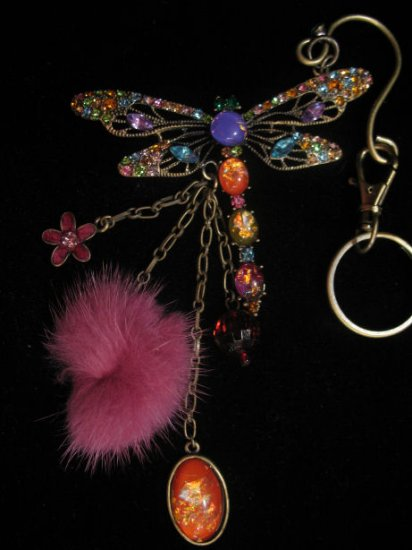 Purse Clip Large Dragonfly Keychain belt clip AWESOME