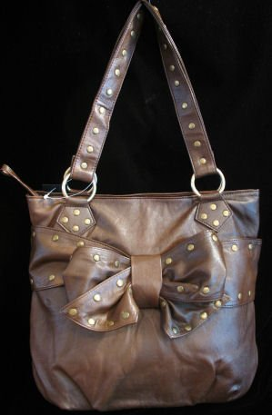 Coffee Brown handbag Studs bow Large Bag Purse Tote