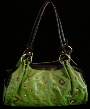 Green apple grommet 3 compartment handbag bag purse