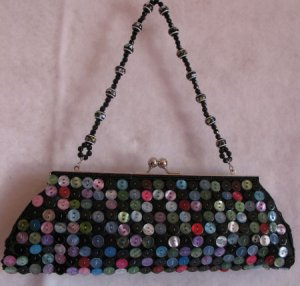 Clutches mini bag Evening prom Black Button purse