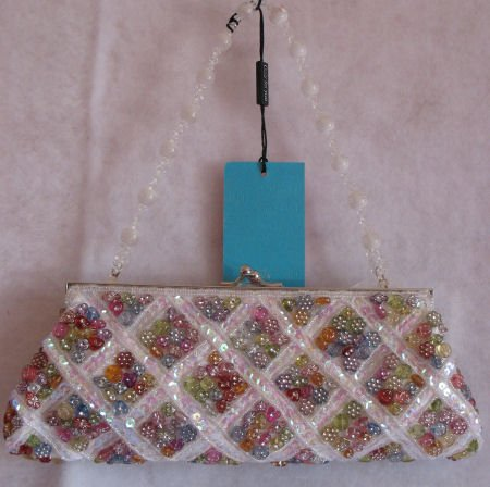 Clutch Mini Bag Purse White Button Prom evening Sequin