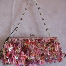 Mini Bag Clutch Evening, Prom Purse Pink Sequin & Beads