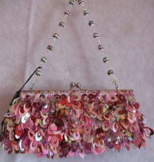Mini Bag Clutch Evening, Prom Purse Pink Sequin & Beads