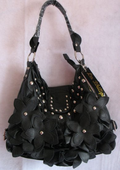 Black Flower studded handbag bag Purse