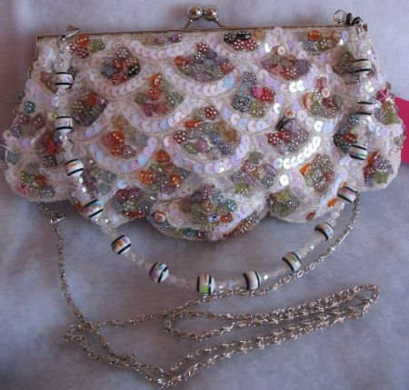 Evening bags clutch prom purse White Button & Sequin