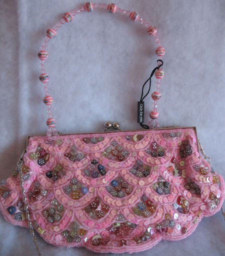 Pink Scalloped Button Clutch evening bag prom Beaded