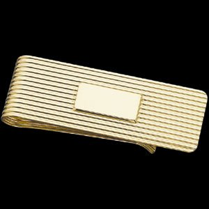 SMALL RIBBED MONEY CLIP W/SHIELD