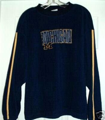 MICHIGAN UNIVERSITY FLEECE SWEATSHIRT, MEDIUM, Navy Blue **NEW*