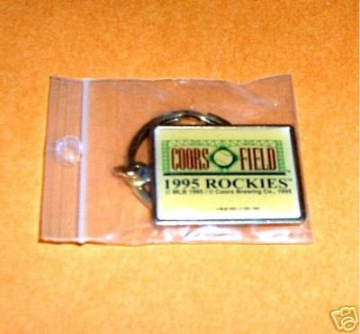 COORS FIELD INAUGURAL 1995 ROCKIES BRASS KEYCHAIN *NEW*