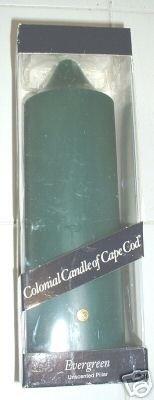 "COLONIAL CANDLE OF CAPE COD EVERGREEN 9.5"" PILLAR *NIB*"