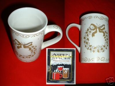 GOLD & SILVER WREATH MUGS & SPICES, SET OF 2  **NEW*