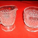CREAM & SUGAR, DIAMOND POINT CRYSTAL-INDIANA GLASS *NEW