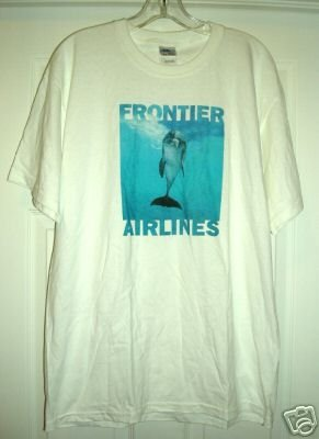 "FRONTIER AIRLINES ""FLIP"" T-SHIRT, LARGE *NEW*"