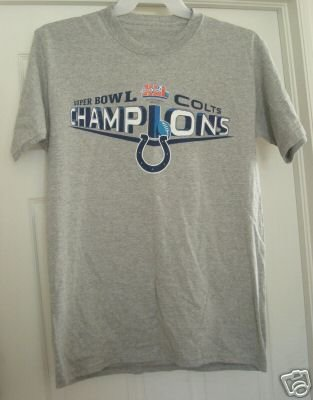 INDIANAPOLIS COLTS SUPER BOWL XLI CHAMPS T-SHIRT, MED *NEW