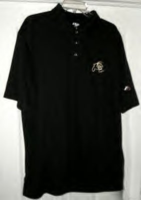 "UNIVERSITY OF COLORADO ""COOLPLUS"" BLACK POLO, MED *NEW*"