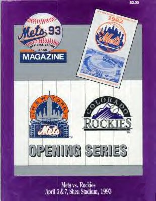 COLORADO ROCKIES INAUGURAL GAME PROGRAM VS NY METS *NEW