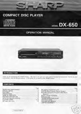 SHARP DX-650 CD PLAYER OWNER'S MANUAL *NEW*