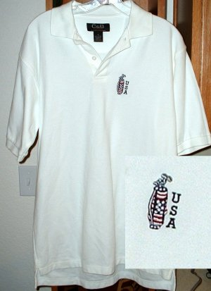 USA GOLF by CROFT & BARROW EMBROIDERED SHIRT,LARGE *NEW