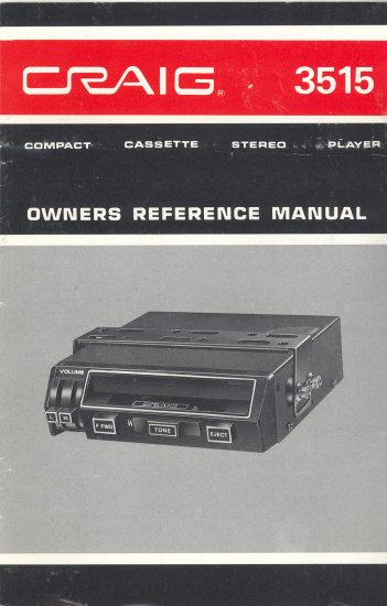 CRAIG 3515 CASSETTE PLAYER OWNER'S MANUAL *NEW*