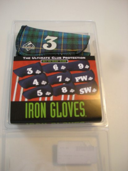 IRON GLOVES, SET OF 9, 3-SW, BLUE/GREEN PLAID *NEW*