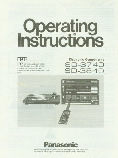 PANASONIC SD-3740/3840 STEREO COMPONENT OWNER'S MANUAL