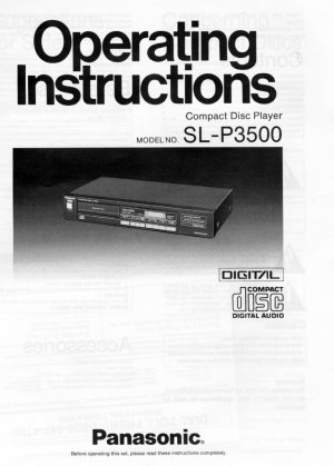 PANASONIC SL-P3500 CD PLAYER OWNER'S MANUAL *NEW*