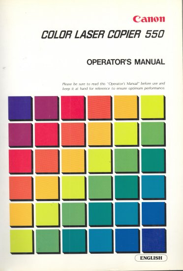CANON COLOR LASER 550 COPIER OWNER'S MANUAL *NEW*