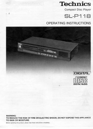 TECHNICS SL-P118 CD PLAYER OWNER'S MANUAL *NEW*