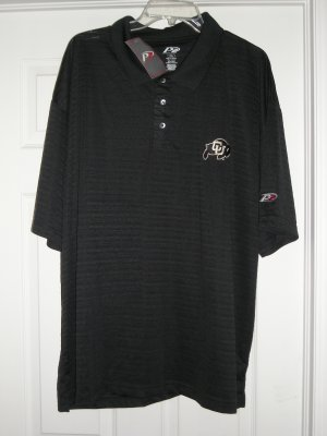 """UNIVERSITY OF COLORADO """"RIBBED LOOK"""" BLK POLO, MED *NEW"""