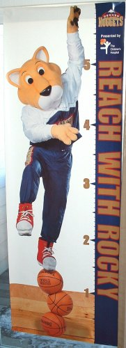 "DENVER NUGGETS ""REACH WITH ROCKY"" KIDS GROWTH CHART-NEW"