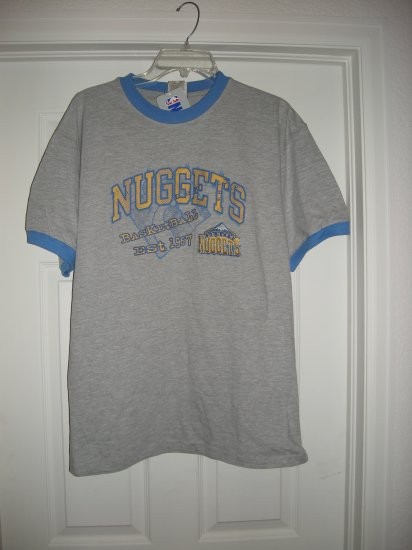 DENVER NUGGETS EMBROIDERED GRAY T-SHIRT, Size:LARGE  *NEW*