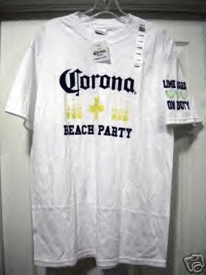 CORONA BEACH PARTY T-SHIRT, MEDIUM **NEW**