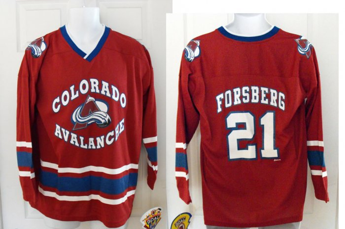 PETER FORSBERG COLORADO AVS YOUTH JERSEY, LG 16-18 *NEW*