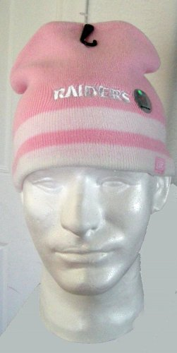OAKLAND RAIDERS EMBROIDERED PINK KNIT CAP, *NEW