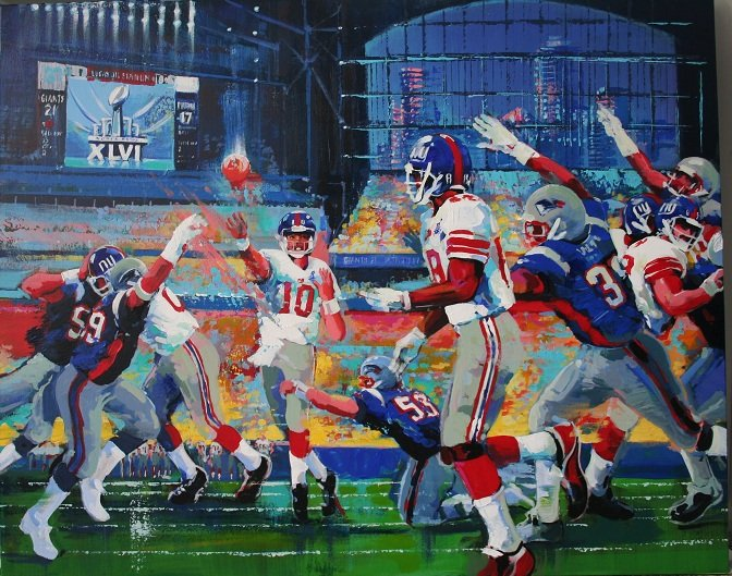SUPER BOWL XLVI OFFICIAL PRINT SIGNED BY ARTIST MALCOLM FARLEY, NFL LICENSED 40X30