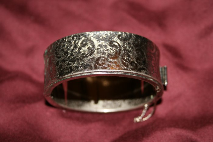 Vintage Silvertone Metal (with Paisley Design) Bracelet Cuff