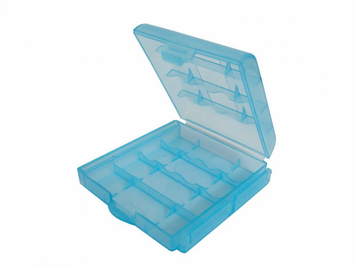 4x Blue Plastic Battery Storage Box Case - 2A 3A