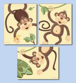Set of 3 Art Prints for Nursery Jungle Monkey Business